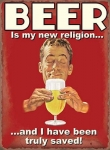 "Metalowa tabliczka retro 15 x 20 cm ""Beer is my new religion"""