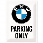 "Metalowa tabliczka retro 30 x 40 cm ""BMW Parking Only White"""