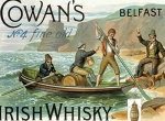 "Metalowa tabliczka retro 30 x 40 cm ""Cowan's Irish Whisky - boat"""