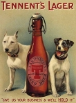 "Metalowa tabliczka retro 15 x 20 cm ""Tennent's Lager - two dogs"""