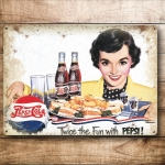 "Metalowa tabliczka retro 30 x 40 cm ""Pepsi Cola - Twice the Fun with Pepsi!"""