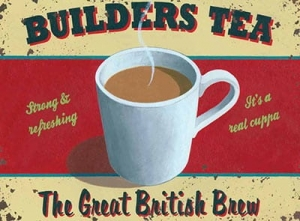 "Metalowa tabliczka retro 30 x 40 cm ""Builders Tea"""
