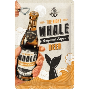 "Metalowa tabliczka retro 20 x 30 cm ""Beer Bottle - The Night Whale"""