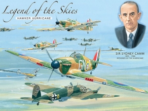 "Metalowa tabliczka retro 15 x 20 cm ""Legend of the skies - Hawker Hurricane"""