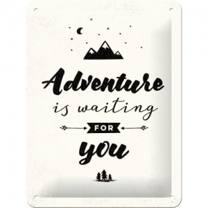 "Metalowa tabliczka retro 15 x 20 cm ""Adventure is Waiting"""