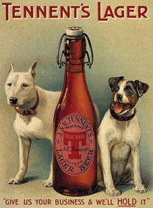 "Metalowa tabliczka retro 30 x 40 cm ""Tennent's lager - two dogs"""