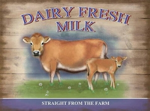 "Metalowa tabliczka retro 30 x 40 cm ""Dairy Fresh Milk"""
