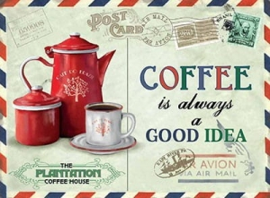 "Metalowa tabliczka retro 15 x 20 cm ""Coffee Good Idea"""