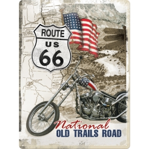 "Metalowa tabliczka retro 30 x 40 ""Route 66 Old Trails Road"""