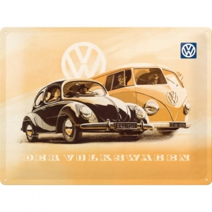 "Metalowa tabliczka retro 30 x 40 cm ""VW Beetle & Bulli"""