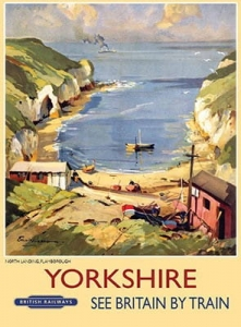"Metalowa tabliczka retro 30 x 40 cm ""Yorkshire Beach Scene"""
