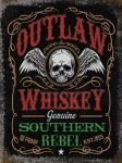 "Metalowa tabliczka retro 30 x 40 cm ""Outlaw Whiskey Genuine Southern Rebel"""