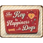 "Metalowa tabliczka retro 15 x 20 cm ""Key to Happiness is Dogs"""