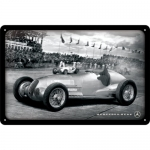 "Metalowa tabliczka retro 20 x 30 cm ""Mercedes-Benz - Silver Arrow Racing Photo"""