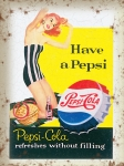 "Metalowa tabliczka retro 15 x 20 cm ""Have a Pepsi - red hair girl"""