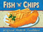 "Metalowa tabliczka retro 15 x 20 cm ""Fish and chips"""
