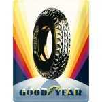 "Metalowa tabliczka retro 30 x 40 cm ""Goodyear - Rainbow Wheel"""