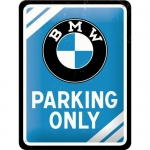 "Metalowa tabliczka retro 15 x 20 cm ""BMW Parking Only Blue"""