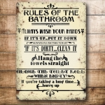 "Metalowa tabliczka retro 15 x 20 cm ""Bathroom rules - beige"""