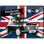 "Metalowa tabliczka retro 30 x 40 cm ""Mini - Perfectly British"""