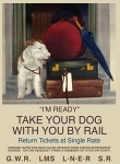 "Metalowa tabliczka retro 30 x 40 cm ""I'm ready - white dog"""