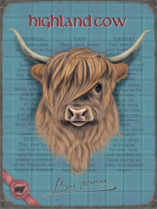 "Metalowa tabliczka retro 15 x 20 cm ""Highland Cow"""