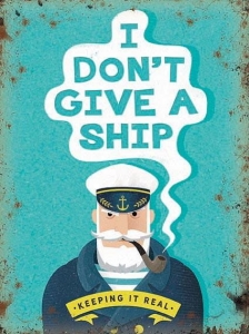 "Metalowa tabliczka retro 30 x 40 cm ""I don't give a ship"""