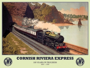 "Metalowa tabliczka retro 30 x 40 cm ""Cornish Riviera Express - 100 years progress"""