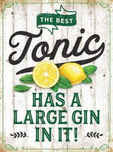 "Metalowa tabliczka retro 30 x 40 cm ""Gin has a large tonic in it"""