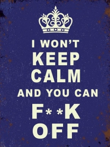 "Metalowa tabliczka retro 15 x 20 cm ""I won't keep calm"""