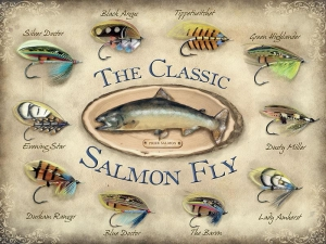 "Metalowa tabliczka retro 30 x 40 cm ""The classic salmon fly"""