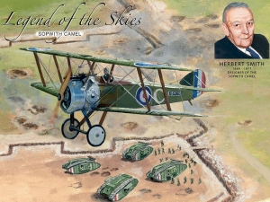 "Metalowa tabliczka retro 30 x 40 cm ""Sopwith Camel Legend Of The Skies"""