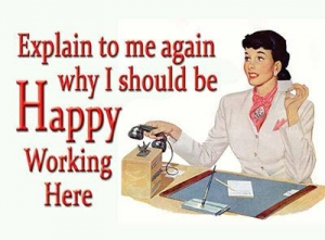 "Metalowa tabliczka retro 15 x 20 cm ""Why I should be happy working here"""