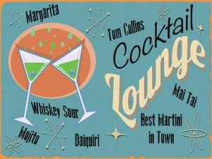 "Metalowa tabliczka retro 15 x 20 cm ""Cocktail Lounge"""