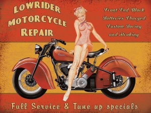 "Metalowa tabliczka retro 15 x 20 cm ""Lowrider Motorcycle Repair"""