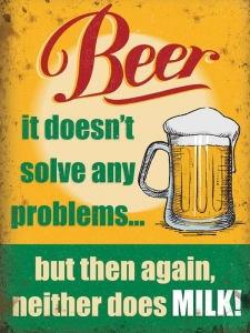 "Metalowa tabliczka retro 15 x 20 cm ""Beer doesn't solve problems"""
