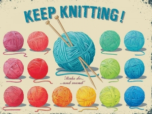 "Metalowa tabliczka retro 15 x 20 cm ""Keep knitting!"""