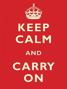 "Metalowa tabliczka retro 30 x 40 cm ""Keep Calm & Carry On"""