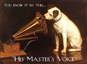 "Metalowa tabliczka retro 15 x 20 cm ""His Master's Voice"""