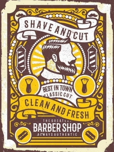 "Metalowa tabliczka retro 30 x 40 cm ""Shave & Cut - Barbershop"""