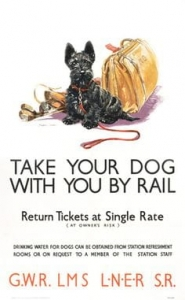 "Metalowa tabliczka retro 30 x 40 cm ""Take your dog with you by rail"""