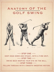 "Metalowa tabliczka retro 30 x 40 cm ""Anatomy of Golf Swing"""