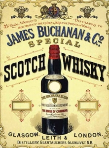 "Metalowa tabliczka retro 30 x 40 cm ""James Buchanan & Co. Scotch"""