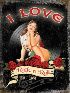 "Metalowa tabliczka retro 15 x 20 cm ""I Love Rock & Roll"""
