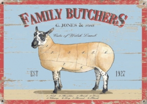 "Metalowa tabliczka retro 15 x 20 cm ""Family Butchers"""
