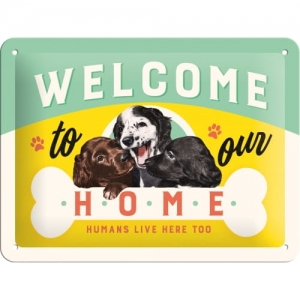 "Metalowa tabliczka retro 15 x 20 cm ""Welcome Puppies"""