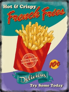 "Metalowa tabliczka retro 30 x 40 cm ""French Fries"""