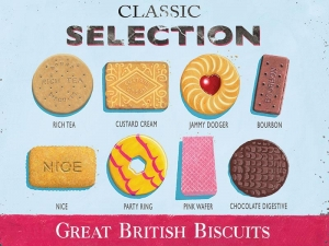 "Metalowa tabliczka retro 15 x 20 cm ""Great British Biscuits Selection"""