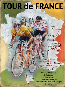 "Metalowa tabliczka retro 30 x 40 cm ""Tour de France Map"""