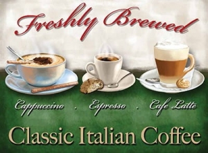 "Metalowa tabliczka retro 15 x 20 cm ""Freshly Brewed Italian Coffee"""
